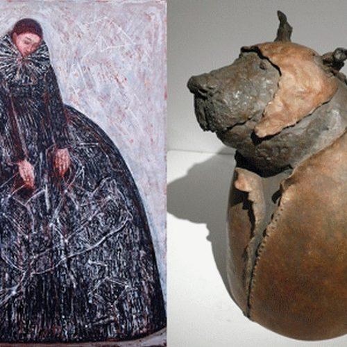 De gauche à droite La grande ourse, huile sur toile, et Le loup déguisé, bronze (25 x 37 cm)