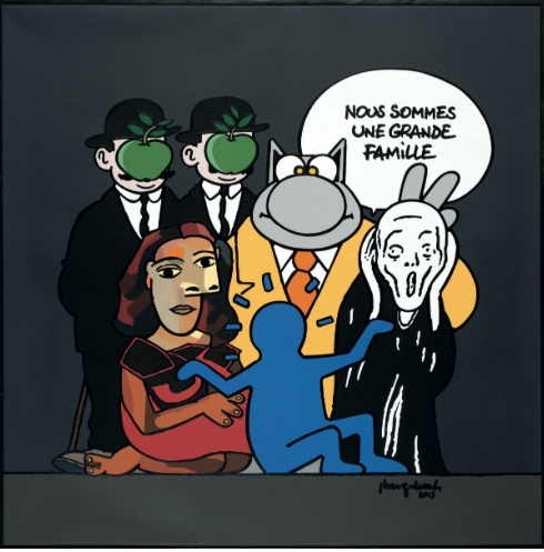 Toile signée Philippe Geluck.