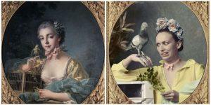 Portrait présumé de Marie-Emilie Baudouin, par François Boucher (1703-1770) réinterprété par @audrey.pirault