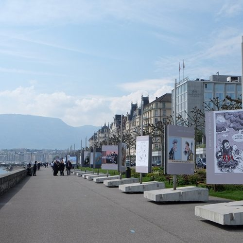 Vue expo cartooning for Peace Geneve