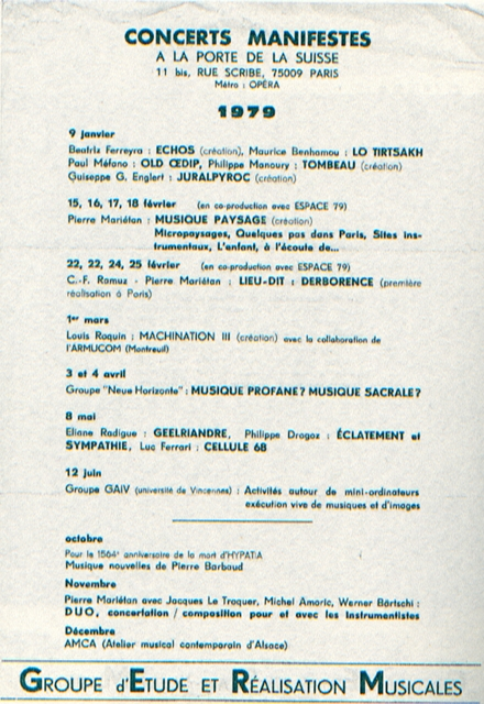 Affiche des concerts Manifestes, 1979.