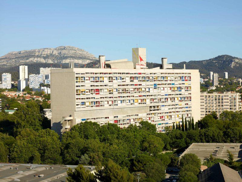 Vue de la Cité radieuse conçue, à Marseille, par Le Corbusier.