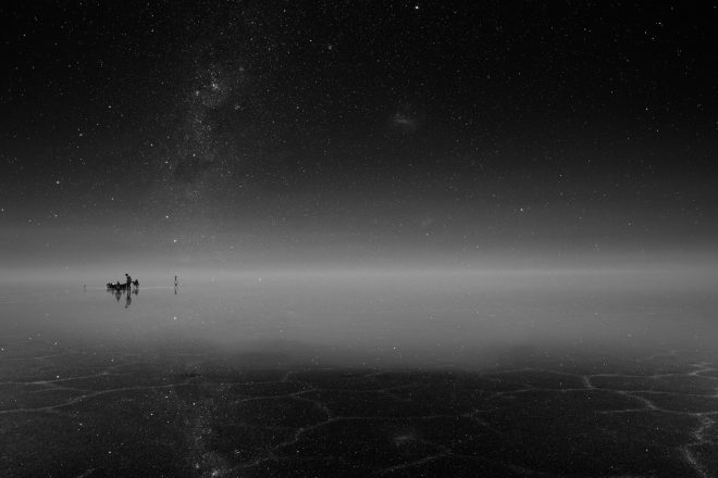 Vue de l'expédition dans le désert de sel d'Uyuni, en Bolivie, janvier 2016