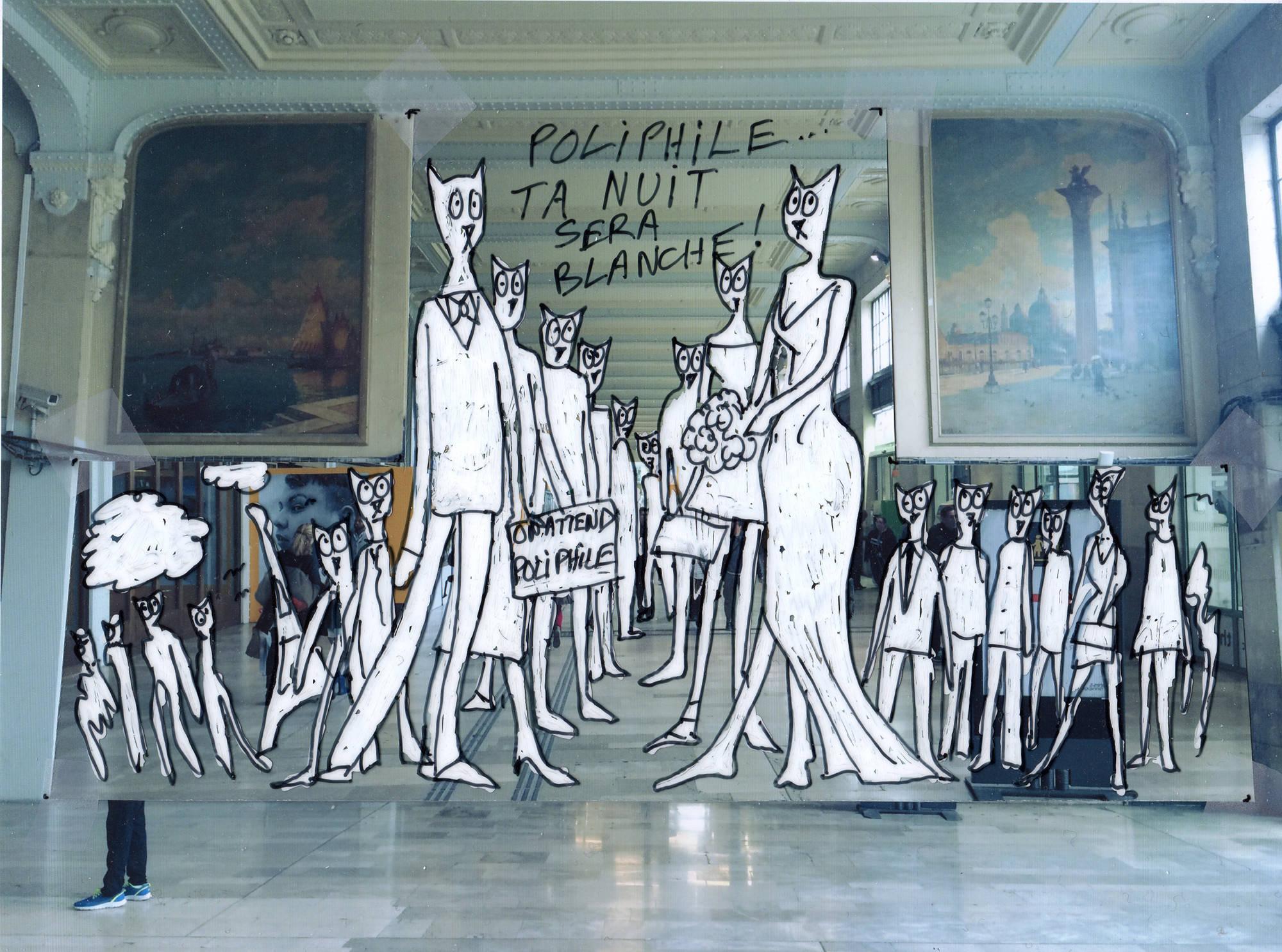En attendant Poliphile (dessins préparatoires), Alain Séchas, 2016.