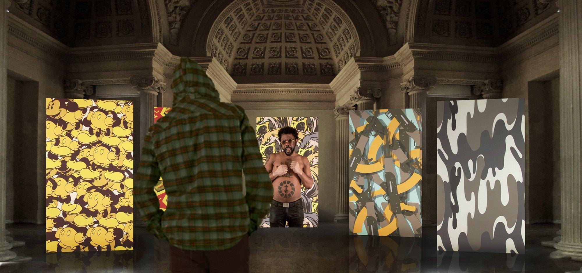 Vue de l'installation Speeches (2012) au Musée d'art et d'histoire de Saint-Denis, Sylvie Blocher.