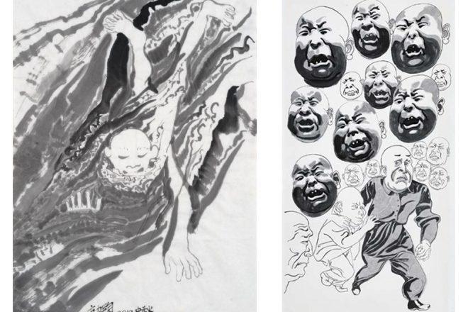 De gauche à droite: «Milieu de l'automne» (2012) et «Eté 2015», Fang Lijun