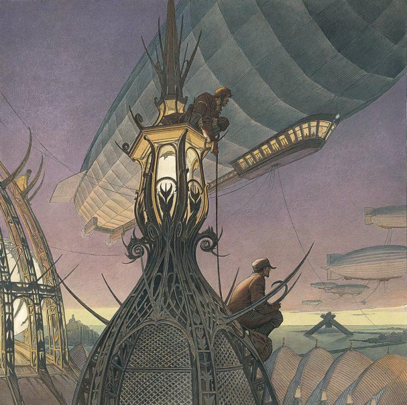 Les Naufrageurs (affiche pour le Festival Etonnants voyageurs de Saint-Malo), François Schuiten, 2005.