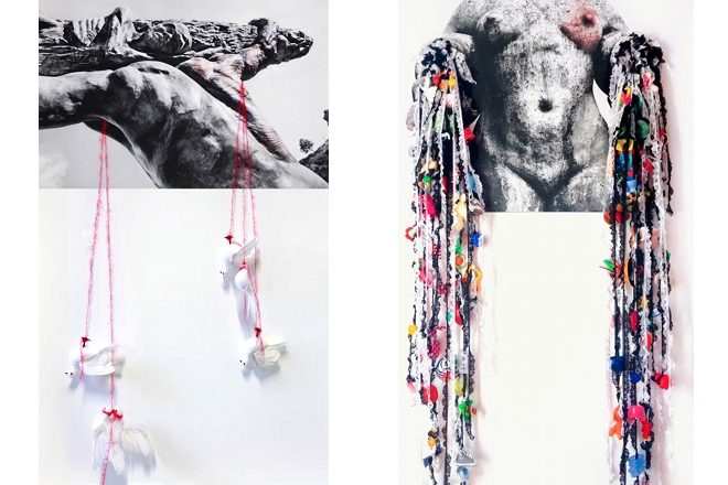 De gauche à droite: «Le décor de la Paix» et «MADRE», Francesca Di Bonito, 2014