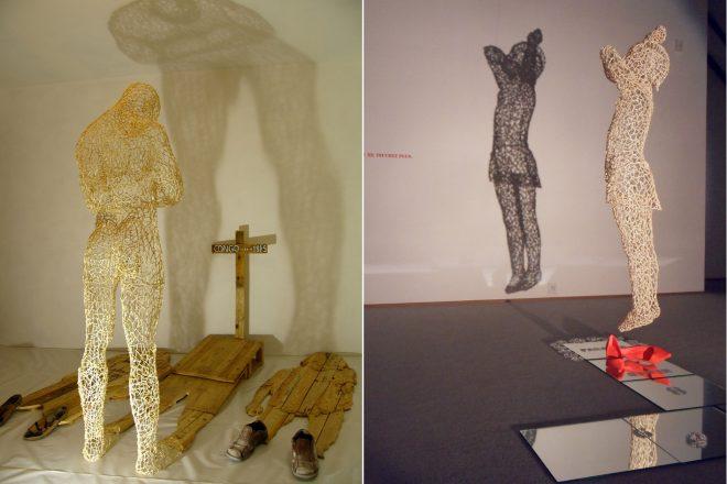 De gauche à droite : « Congo, shadow of the shadow » (2005) et « Don't touch me », Aimé Mpane