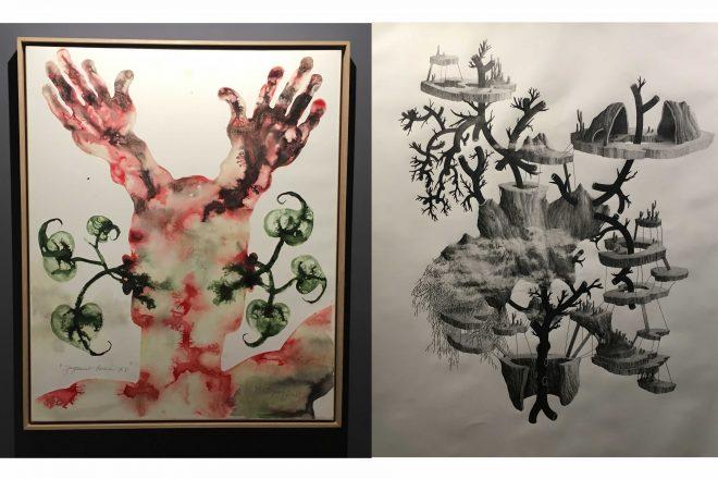 De gauche à droite : « Jugement dernier XVI » de Barthélémy Toguo (2016) et « Sans titre » de Delphine Moniez (2017)