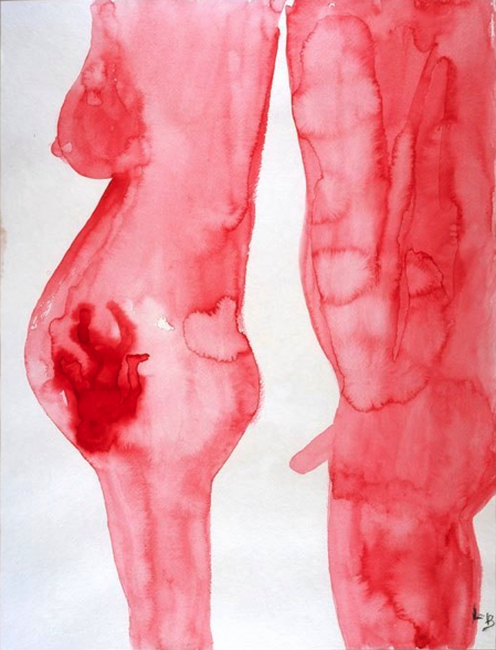 A man and a woman,@ gouache sur papier