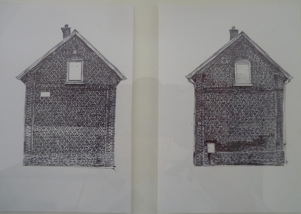 Cité N°5, stylo bille noir sur papier