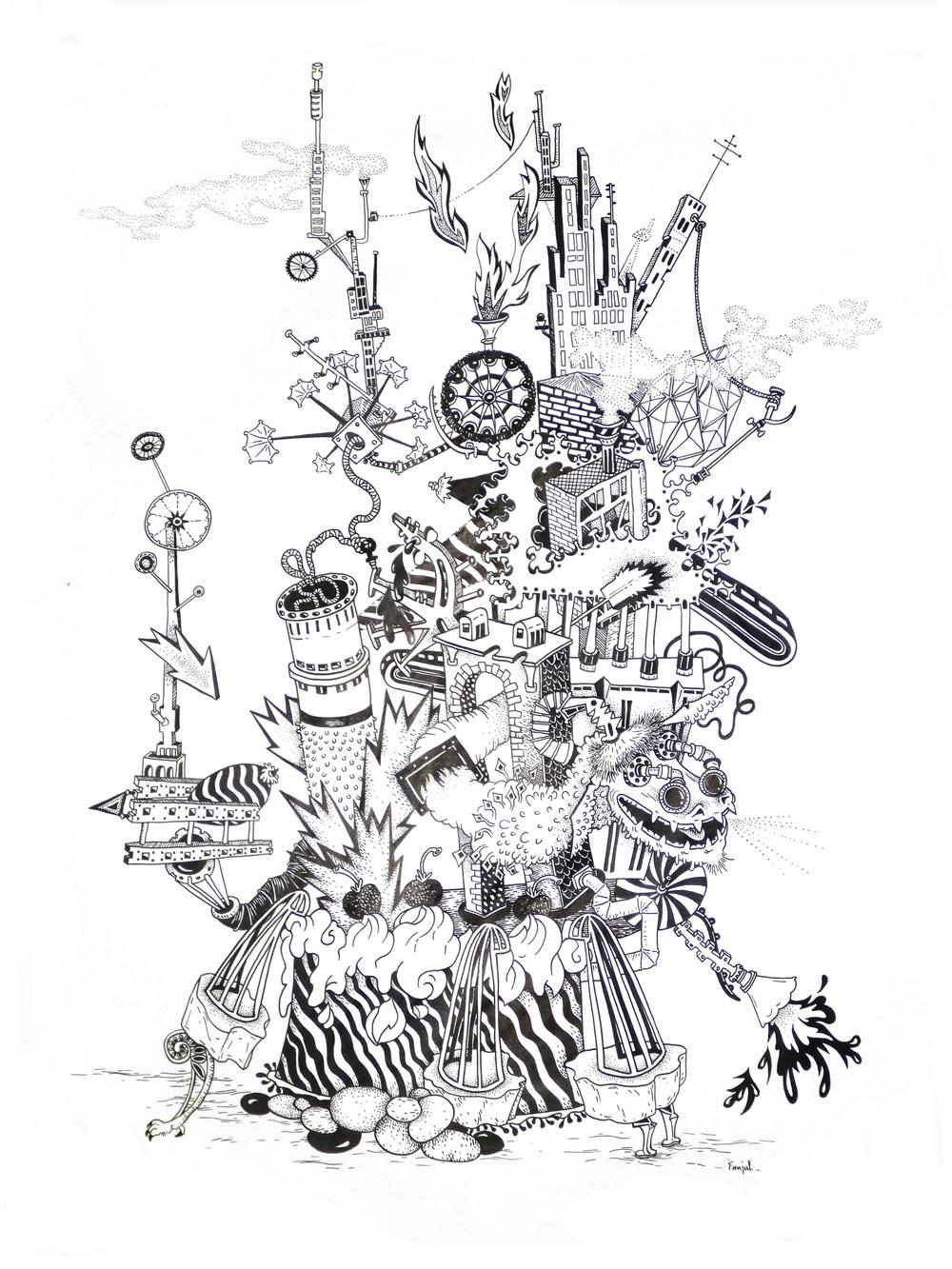 Tour aux cerises, marqueur Posca sur papier (35 x 45 cm)