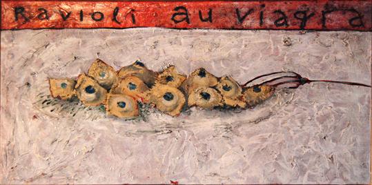 Ravioli au viagra, huile sur toile (40 x 80 cm)