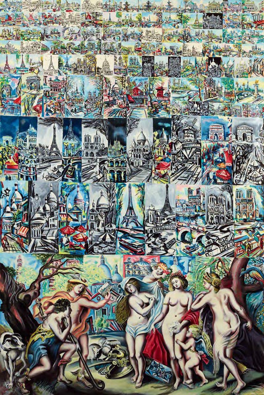 Le Jugement de Paris et l'Ecole@de Montmartre, huile sur toile (300 x 200 cm)
