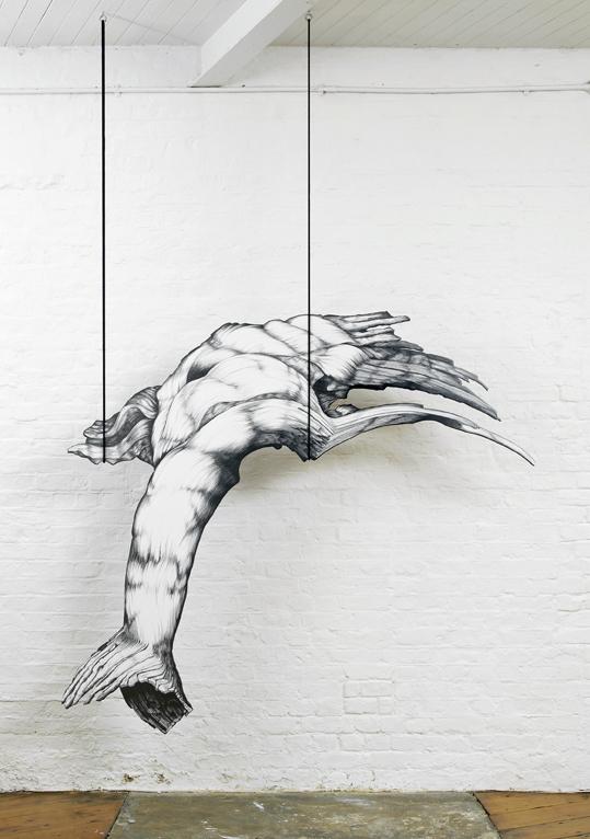 Hanging Bacon, corde et crayon sur gesso@appliqué sur une structure@en contreplaqué de bouleau@(158 x 188 x 1.8 cm)