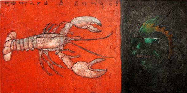 Hommard à Bongo, huile sur toile (40 x 80 cm)