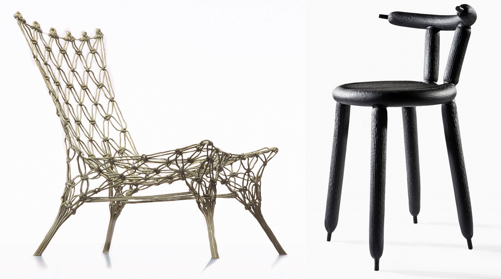 De gauche à droite :@Knotted Chair (1996)@et Carbon Balloon Chair (2013)
