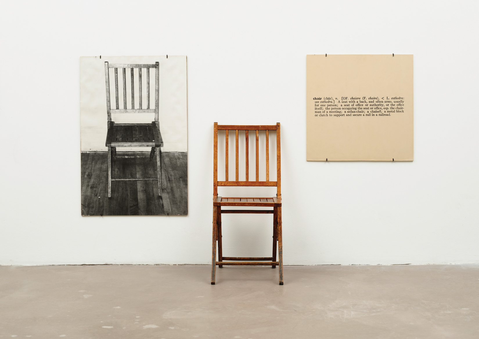 One and Three Chairs, installation