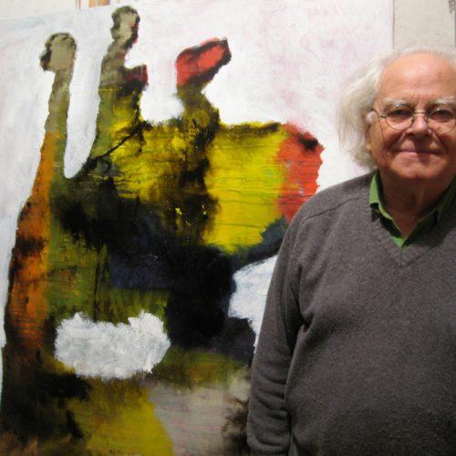 Jacques Pasquier dans son atelier, à côté de lui Loupe, laque sur toile, 160 x 160 cm