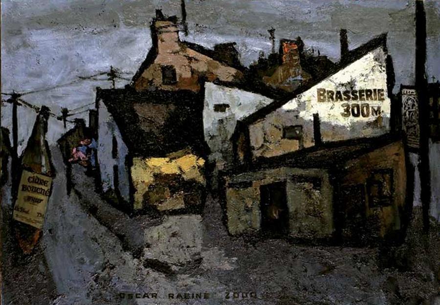 Une rue en Bretagne, huile sur toile