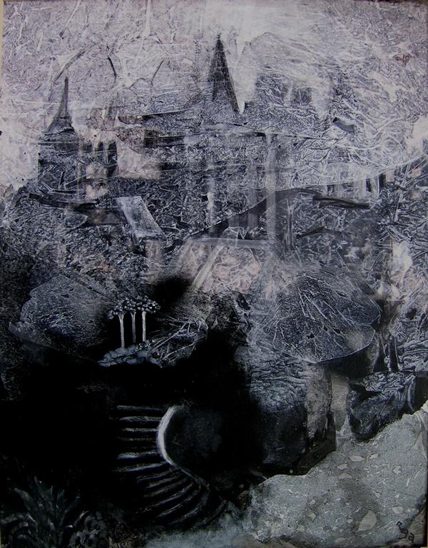 Série noir et blanc, L'escalier (70 x 56 cm)