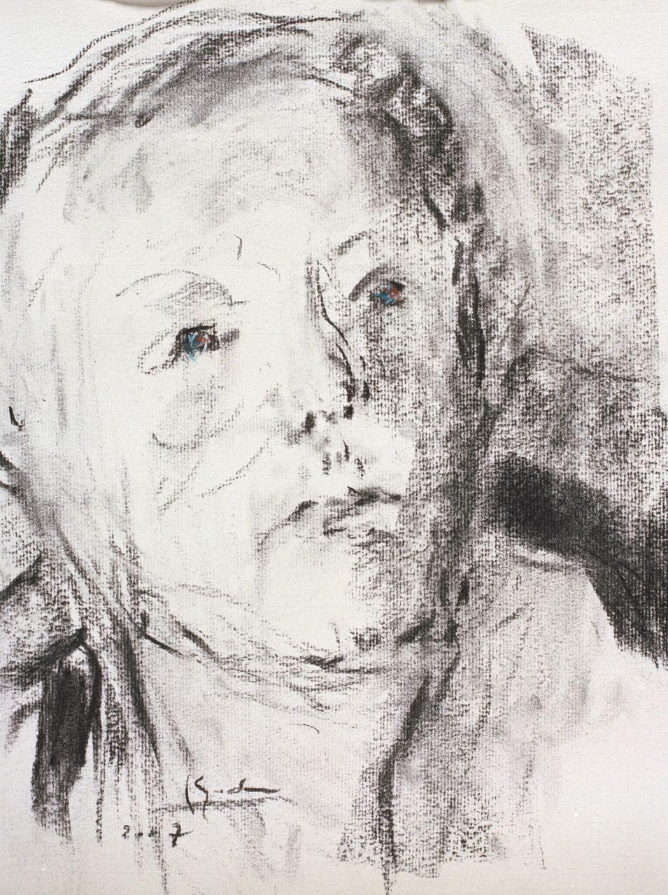 Autoportrait, fusain