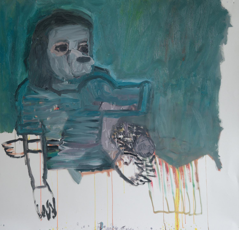 Cœur de chien, huile sur papier (140 x 140 cm)