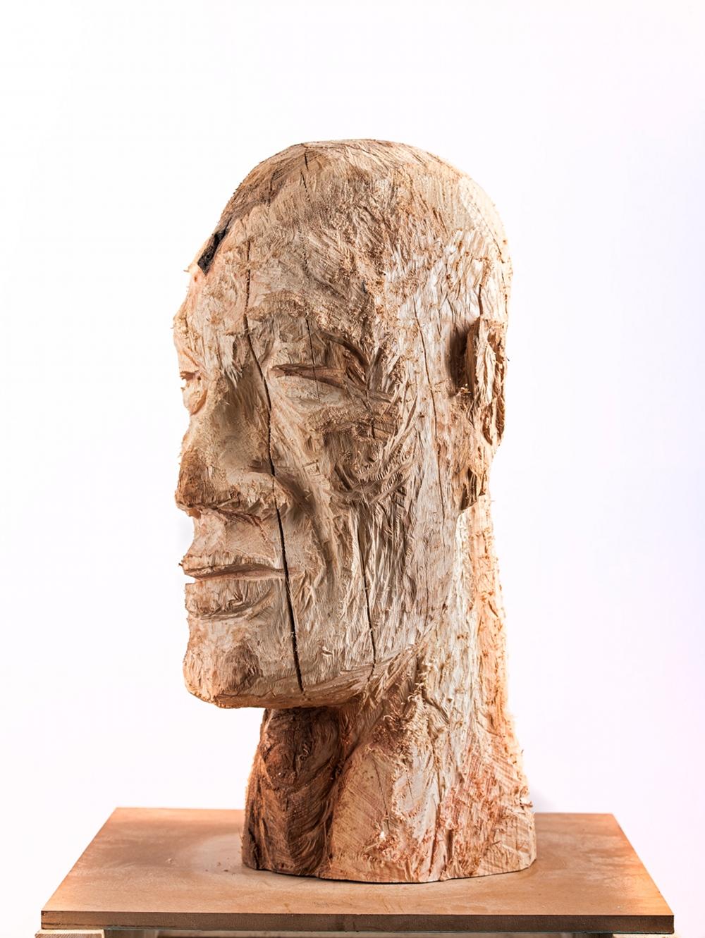 Sans titre, bois sculpté@(80 x 50 x 50 cm)