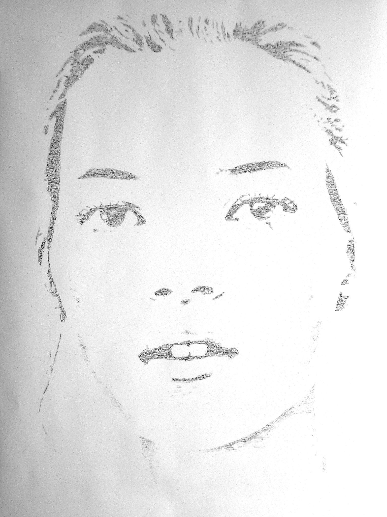 Kate in…, dessin au tampon encreur@(250 x 150 cm)