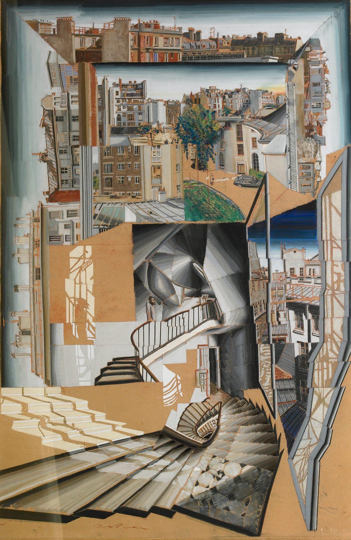 Sans titre (escalier et vue de Paris), pastel